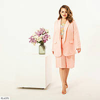 Летний деловой костюм тройка женский пиджак, шорты, туника больших размеров батал 50-60 арт. 71141/1