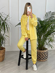 Женский льняной костюм двойка штаны+рубашка