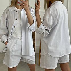 Женский льняной костюм двойка рубашка+шорты