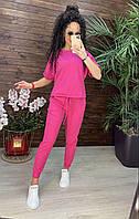 Стильный женский костюм джогеры+футболка лето малиновый