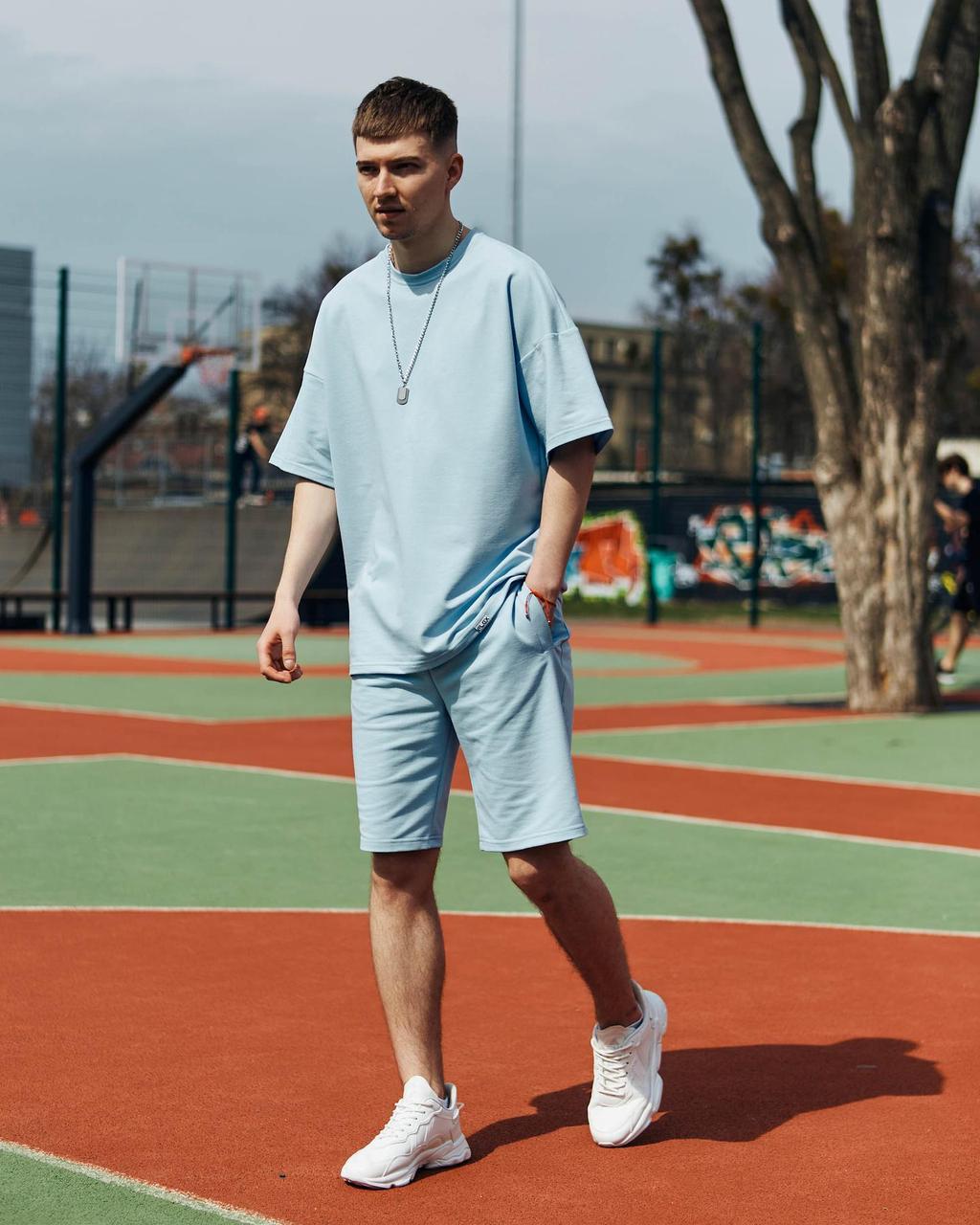 Летний комплект мужской голубого цвета шорты + футболка