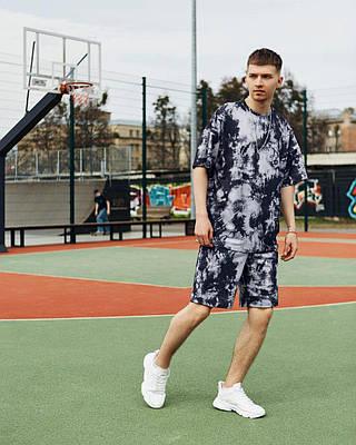 Летний комплект мужской мраморного цвета шорты + футболка
