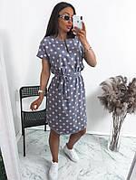 Женское Молодежное платье с поясом до колен в цветочный принт ,горошек,софт.Новое поступление весна лето