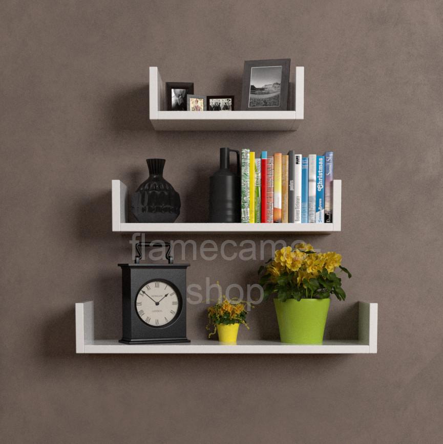 Полиця для книг настінна, Комплект навісних полиць з ДСП