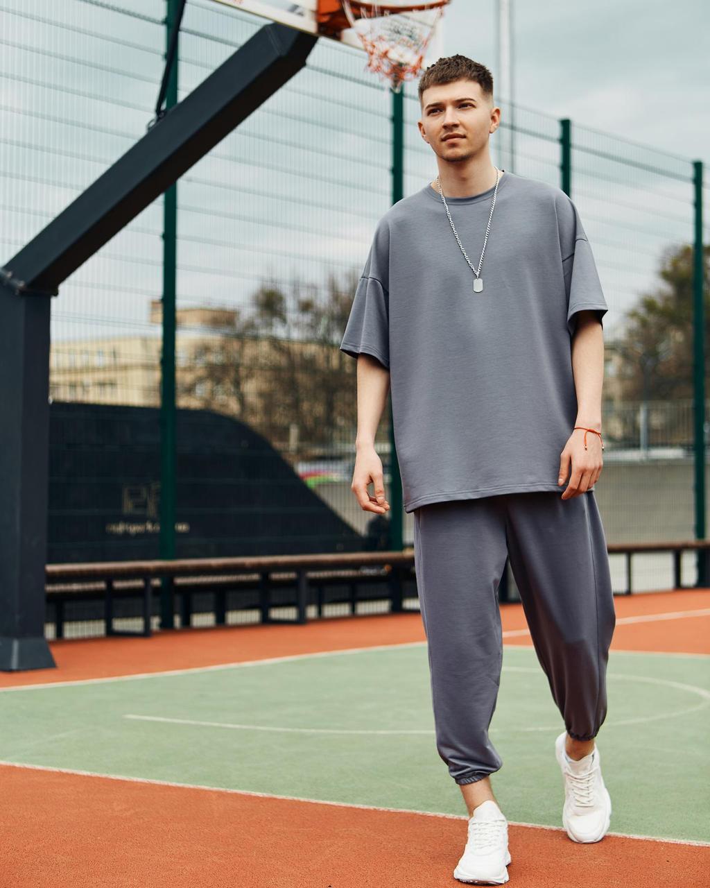 Летний комплект мужской графитового цвета штаны + футболка