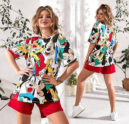 """Летняя женская футболка 719 """"Mickey"""" в расцветках"""