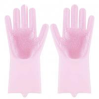 Силиконовые перчатки Magic Silicone Gloves Pink для уборки чистки мытья посуды для дома. Цвет: розовый