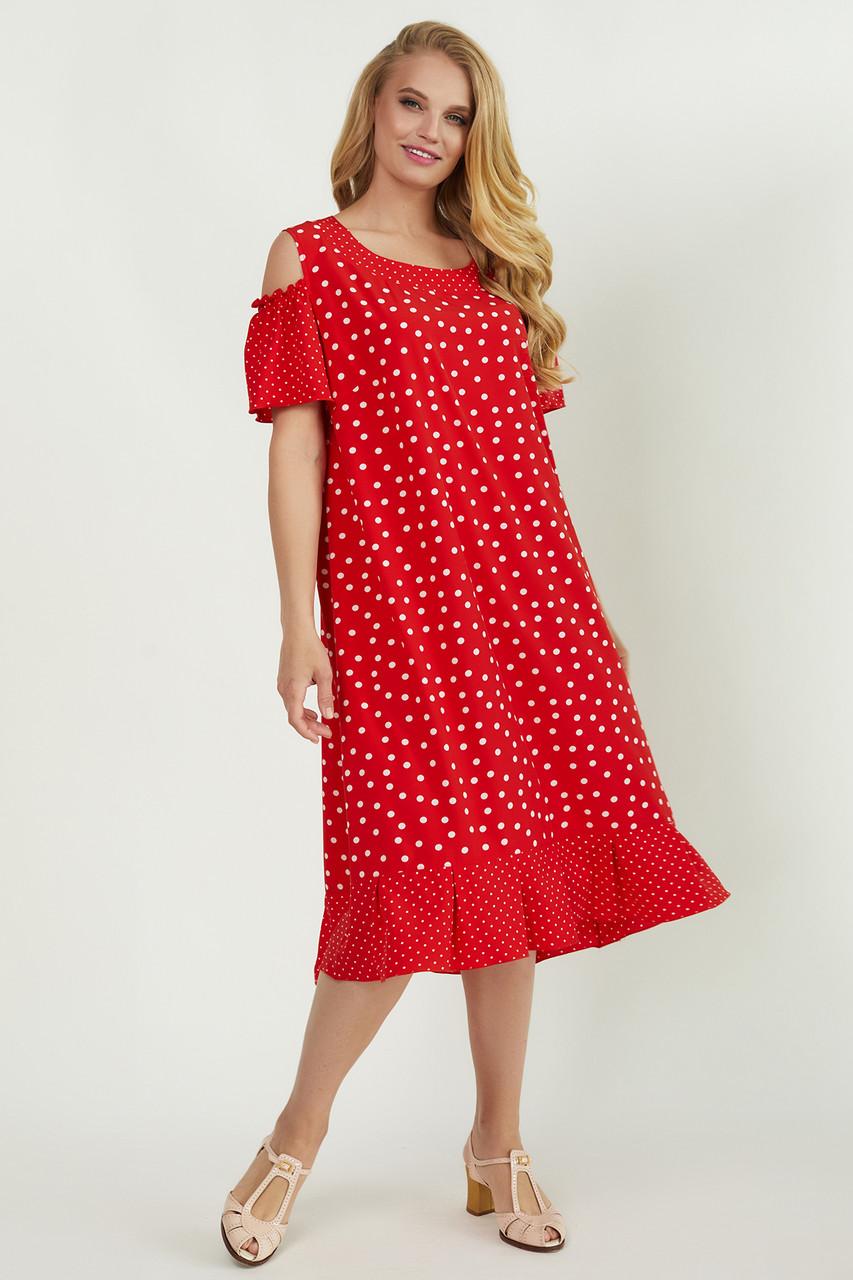Красиве батальне плаття в горох 52,54,56,58,60,62 розмір
