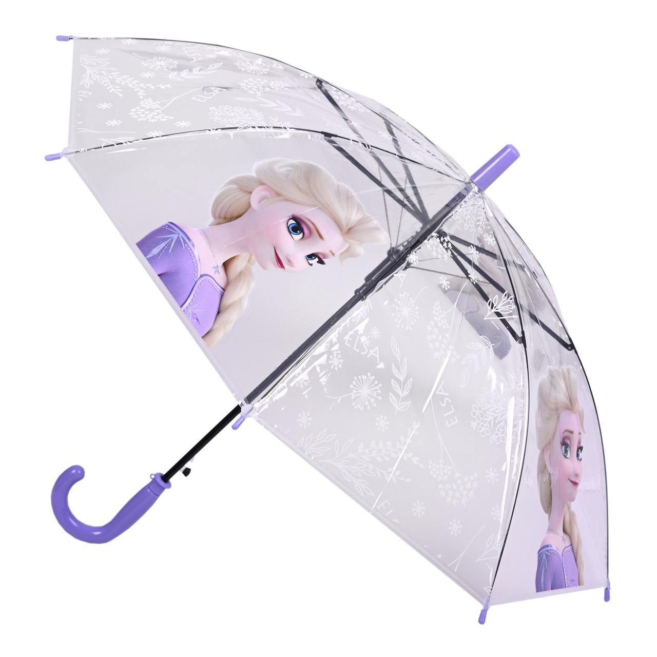 Детский прозрачный зонтик с мультгероем Эльзой размеры: