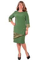 """Платье теплое изумрудное большого  размера, новий рік ,весільна сукня , великі розміри , """" Киви"""" Пл 178-3."""