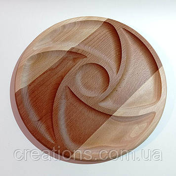 Менажниця дерев'яна кругла тарілка 34 см. для подачі з бука на 4 ділення з соусницей