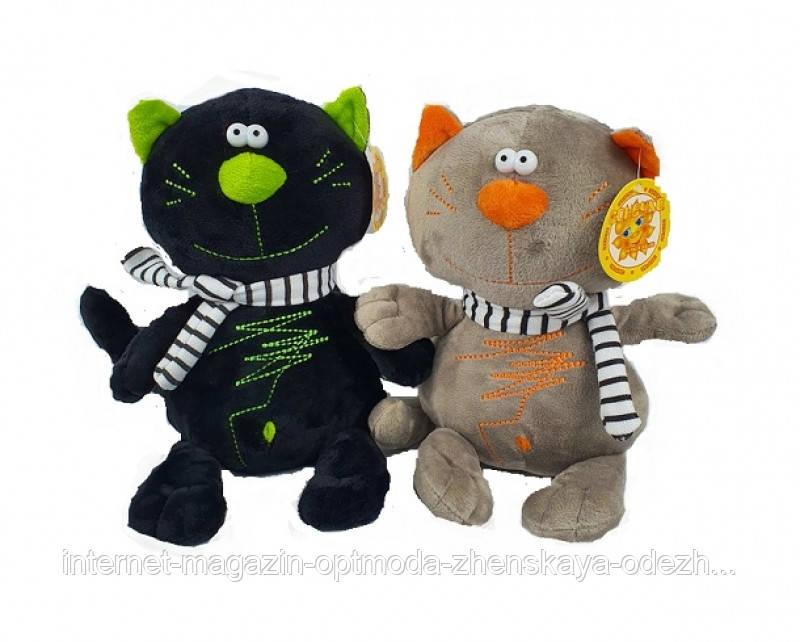 Музичні іграшки оптом - 2060-т - Мила м'яка іграшка музичний «Кіт у шарфі»