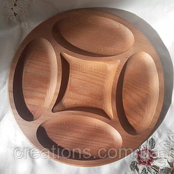 Менажниця дерев'яна кругла 34 см. з бука на 5 поділок, тарілка