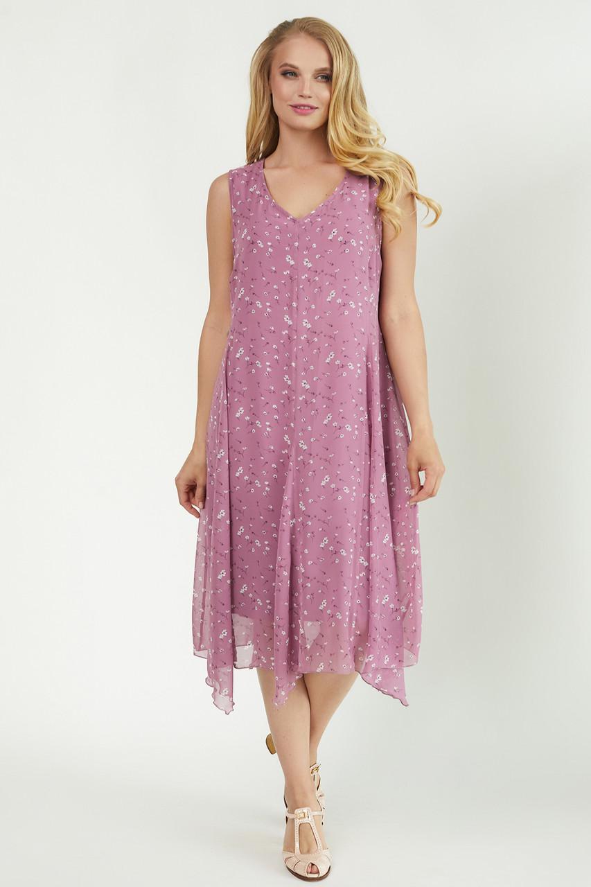 Легкое ассиметричное батальное платье 48,50,52,54,56,58 размер