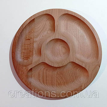 Менажниця дерев'яна кругла 30 см. на 4 секції тарілка для подачі з бука
