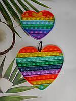 Антистрес-іграшка силіконова пупирка Pop It велике серце