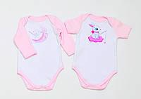 """Набор детских боди BabySoon """"Зайки"""" цвет розовый 62см, фото 1"""