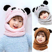 Детский Снуд Панда с ушками (Мишка) теплая шапка-шарф 2 в 1 (зимняя шапка-шлем, балаклава), Унисекс