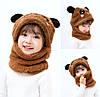 Дитячий Снуд Панда з вушками (Ведмедик) тепла шапка-шарф 2 в 1 (зимова шапка-шолом, балаклава) Коричнева 2