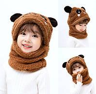 Дитячий Снуд Панда з вушками (Ведмедик) тепла шапка-шарф 2 в 1 (зимова шапка-шолом, балаклава) Коричнева 2, фото 1