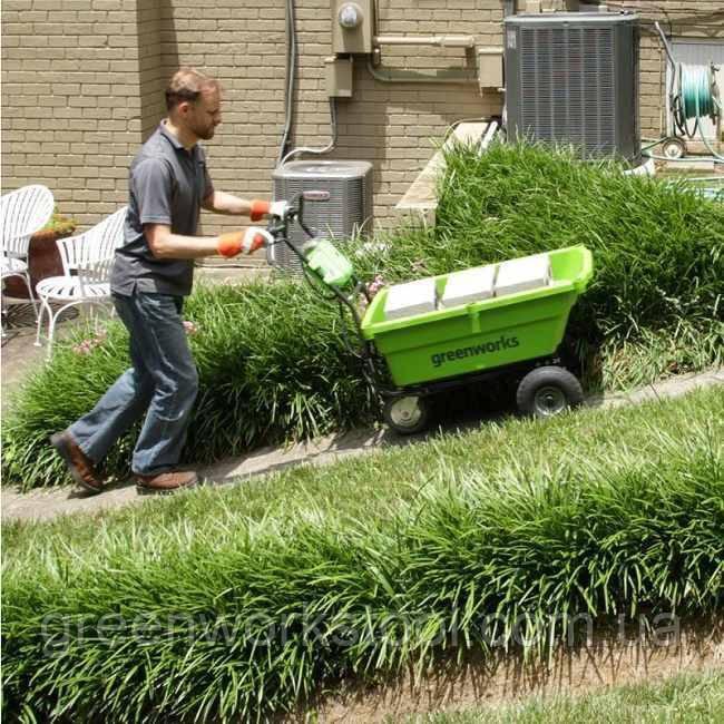 Садовая тележка самоходная аккумуляторная Greenworks G40GCK4 бесщеточная с АКБ 4 Ач и ЗУ