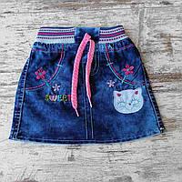 """Спідниця джинсова дитяча на гумці з вишивкою на дівчинку 4-7 років """"BEAUTY"""" купити недорого від прямого постачальника"""
