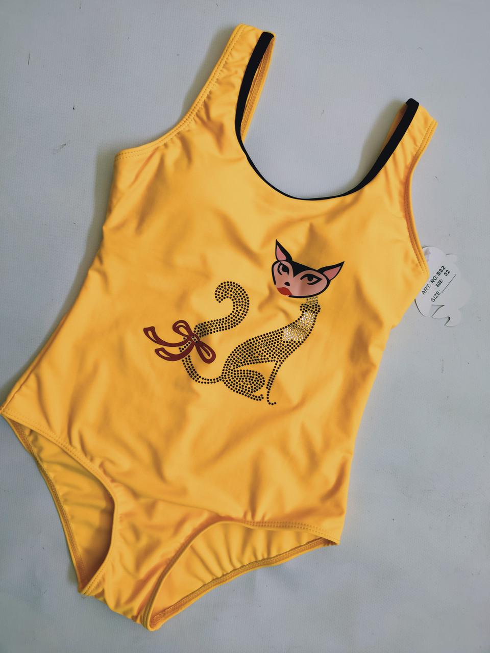 Купальник для подростков FUBA 32 Киса желтый(в наличии 32 34 36 38 40  размер)