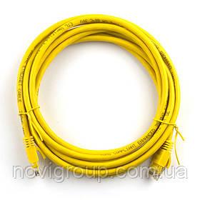 Патч-корд литий RITAR, UTP, RJ45, Cat.5e, 15m, жовтий, Cu (мідь)