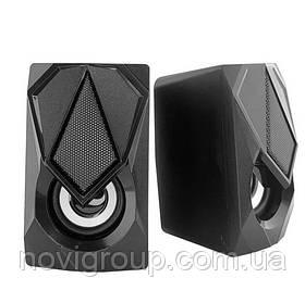 Колонки 2.0 Hotmai A130L USB + 3.5 mm, 2x3W, 20Hz - 18KHz, з регулятором гучності, Black, BOX, Q24