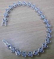"""Изящный серебряный браслет с танзанитами """"Сердце"""" от студии LadyStyle.Biz"""