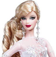 Коллекционная Кукла Барби Блондинка Праздничная 20 Юбилей, белое бальное платье 2008 года - Holiday Barbie, фото 1