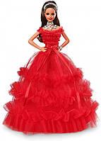 Колекційна Лялька Барбі Святкова Брюнетка в червоному пишній сукні 2018 року - Holiday Barbie Doll, фото 1
