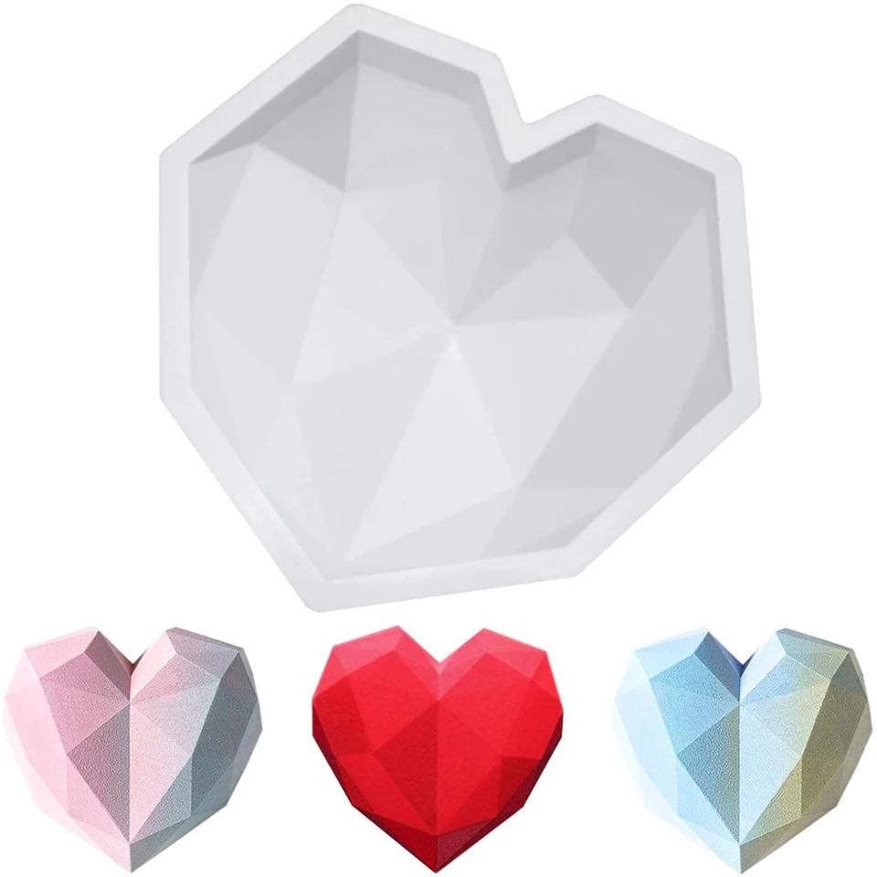 Форма силиконовая для евродесертов Сердце граненое
