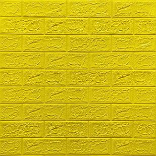 Декоративная 3D панель самоклейка под кирпич Желтый 700x770x5мм