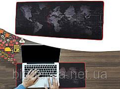 Игровая поверхность, большой коврик для мышки игровой Карта Мира 30 х 60 см  Красный