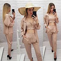 Модный женский костюм тройка - брюки, топ и рубашка, арт 425, цвет беж /бежевый