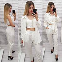 Модный женский костюм тройка - брюки, топ и рубашка, арт 425, цвет белый