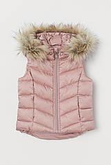 """Легка стьобана жилетка для дівчинки H&M зі знімним капюшоном """"Пудра"""" рожева"""
