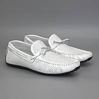 Летние топ-сайдеры мужские мокасины белые кожаные обувь с перфорацией Rosso Avangard TopS White Perf