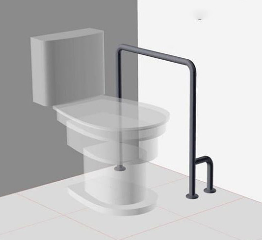 Боковые санитарные поручни возле унитаза