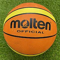 М'яч баскетбольний №7 гумовий, Molten GT-7, жовто-оранжевий, фото 2