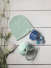 Демисезонная детская вязаная шапочка из 100% мериноса для девочки и мальчика ручной работы.