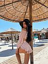 Жіночий літній костюм з бавовняної прошвы з топом з відкритими плечима і шортами (р. S, M) 71ks1842, фото 7