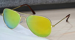 Солнцезащитные очки капли Ray Ban Aviator 3025 (стеклянная линза) Желтые