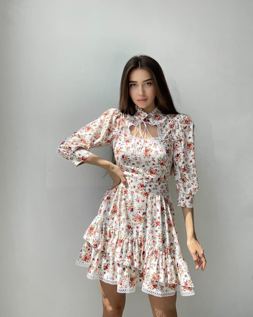 Хлопковое платье в цветочный принт с вырезом каплей и кружевом (р. S, M) 66py2503Q