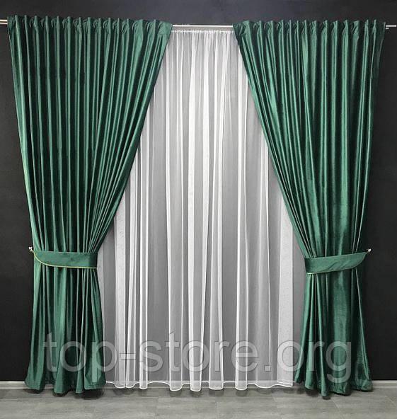 Комплект оксамитових штор Штори 150х270 оксамитові Штори на тасьмі Штори з підхватами Колір Зелений
