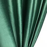Комплект оксамитових штор Штори 150х270 оксамитові Штори на тасьмі Штори з підхватами Колір Зелений, фото 5