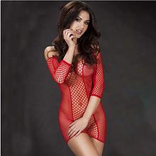 Эротическое белье. Эротическое платье сетка. Нижнее белье. Пеньюар. Боди. (46 размер размер М) красное