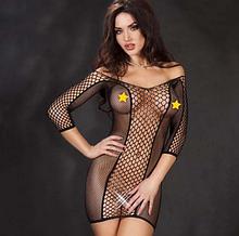 Эротическое белье. Эротическое платье сетка. Нижнее белье. Пеньюар. Боди. (46 размер размер М) черное