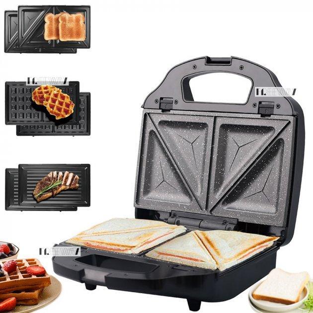 Вафельница Lexical LSM-2515 для бельгийских вафель | электровафельница, сендвичница, бутербродница, гриль 750W